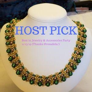 🦚HP🦚 Handmade Necklace Gold & Green GLP